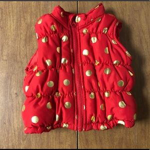 Healthtex Red & Gold Sz 3-6 Mons Puffy Vest